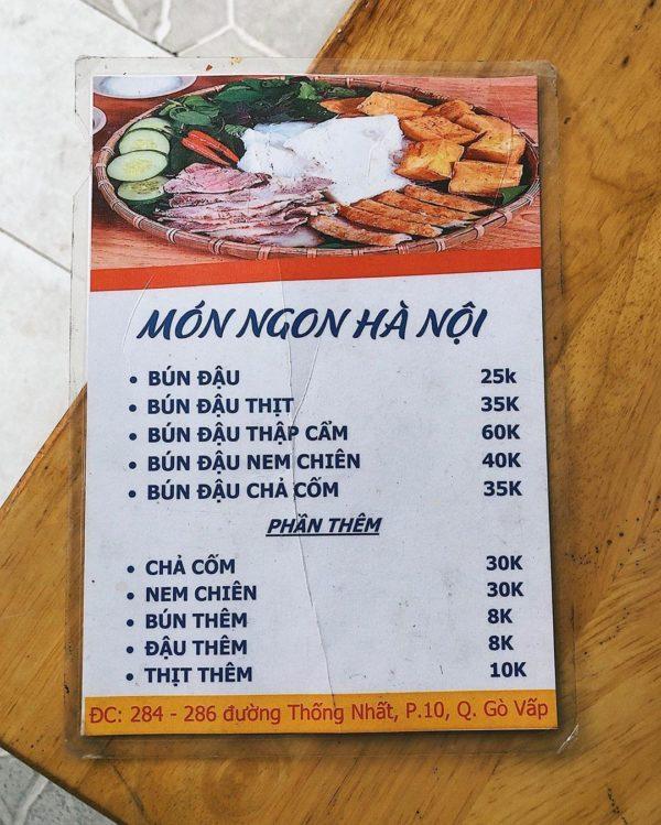 Ảnh 6: Menu bún đậu mắm tôm Hà Nội
