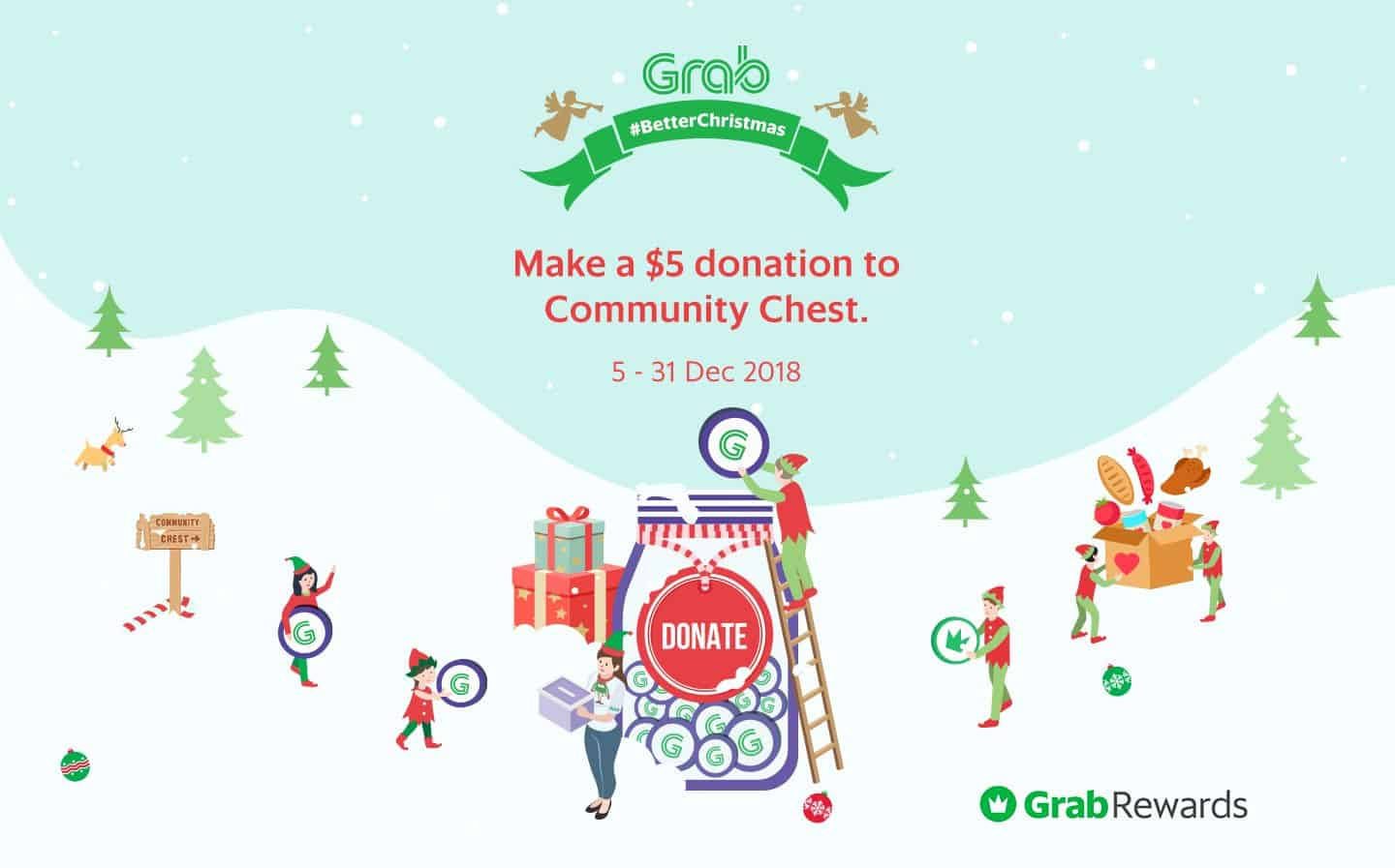Make a $5 donation to Community Chest. 5 - 31 Dec 2018*
