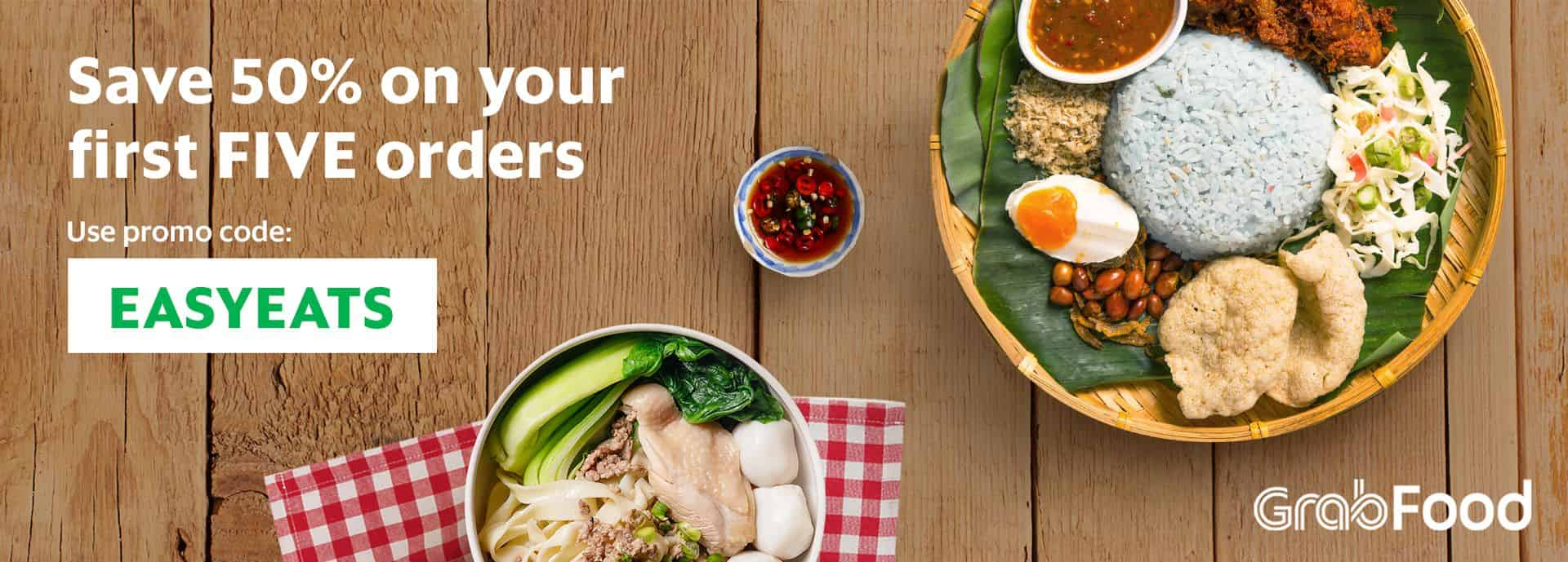 Save 50% on your first 5 GrabFood orders! | Grab MY