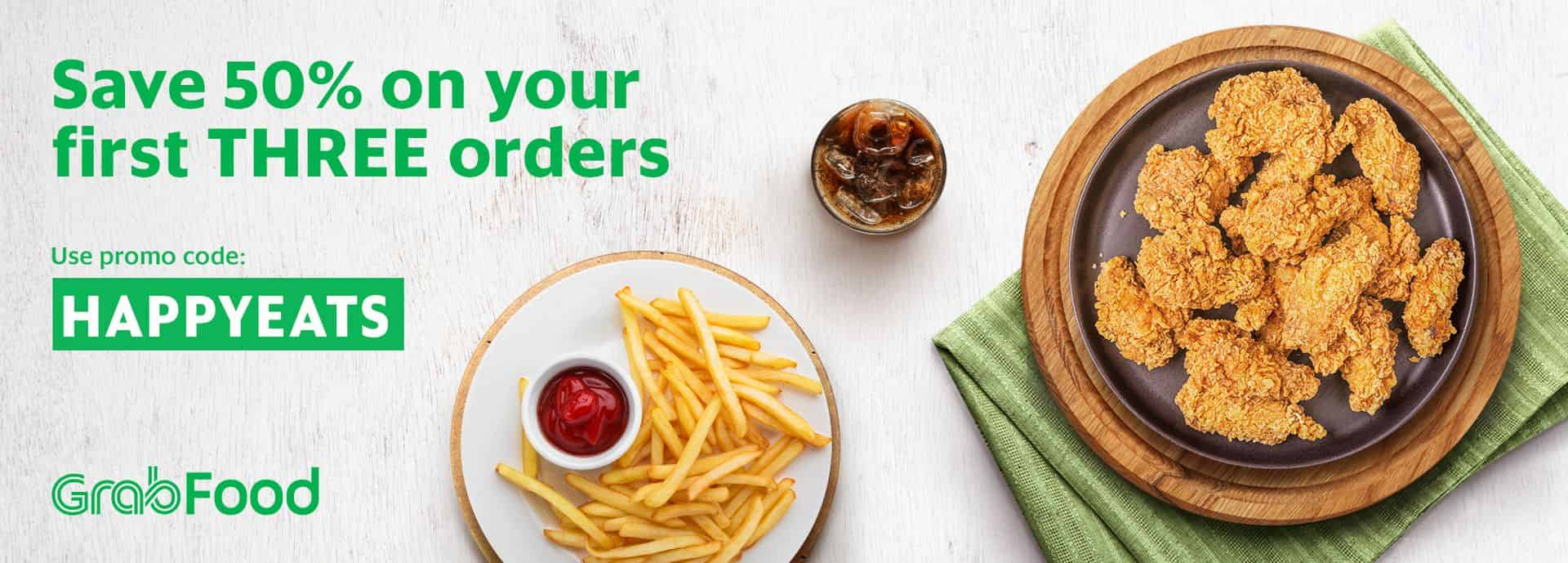 50% OFF your first 3 GrabFood orders!   Grab MY