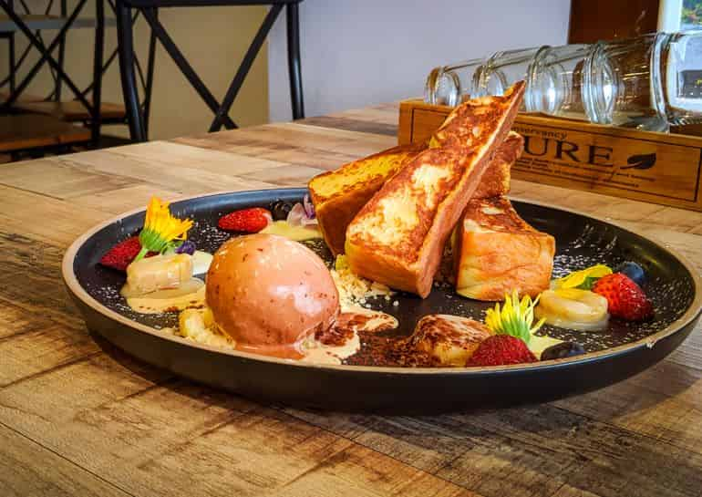 KL's best brunches: French toast with kaya sauce, ice cream and strawberries at Yellow Brick Road