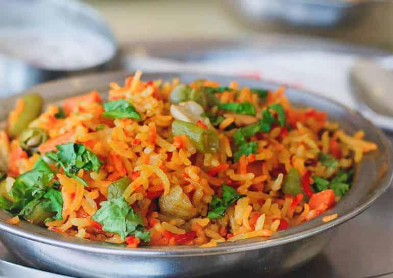 Vegetarian restaurants in KL: spicy tomato rice at Saravanaa Bhavan