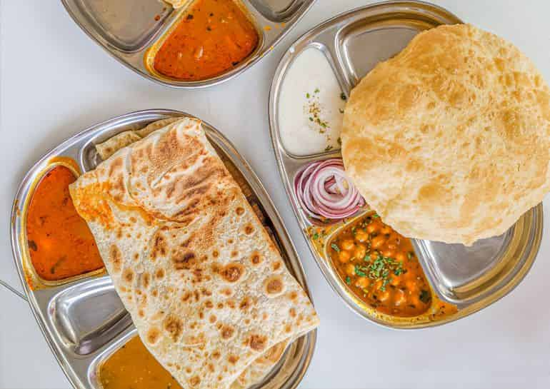 Vegetarian restaurants in KL: The Ganga Cafe's chana bhatura set with masala chickpeas and yoghurt