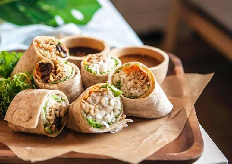 Vegetarian restaurants in KL: Rawsome's tofu wrap filled with fresh vegetables