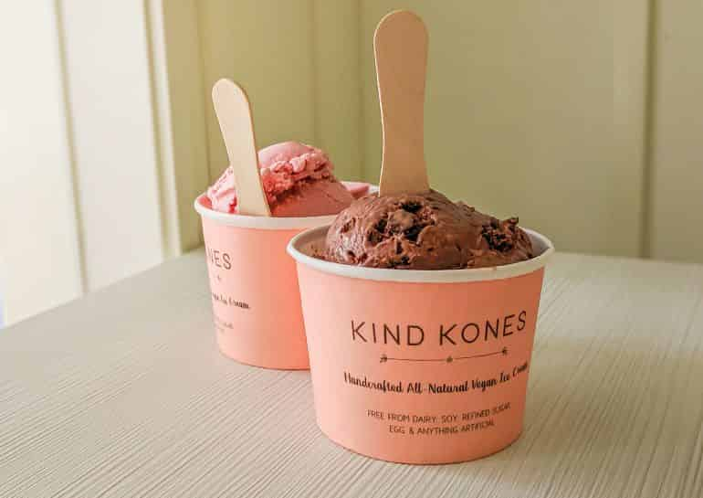Kind Kones' vegan ice cream in strawberry and salted chocolate chip