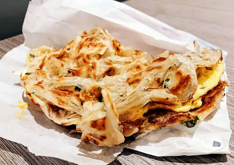 Flaky and crispy goodness in the Egg and Cheese Scallion Pancake from Liang Sandwich Bar