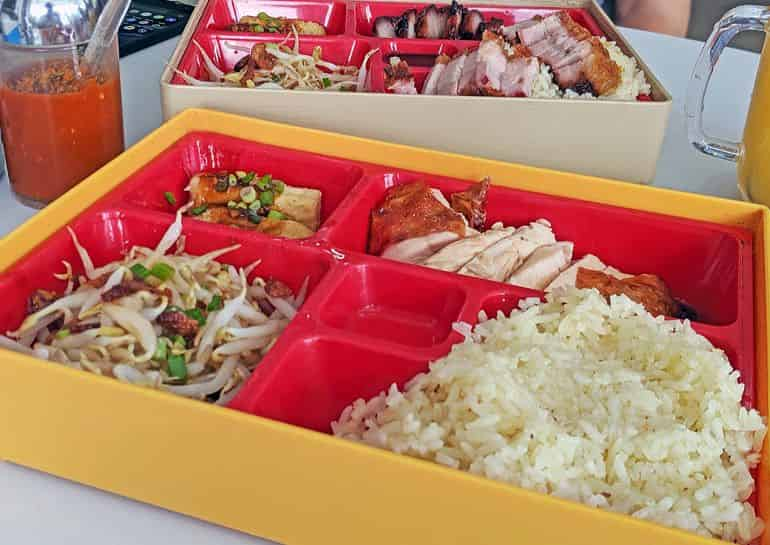 Best chicken rice in kuala lumpur: Roasted chicken rice bento box at 1977 New Ipoh Chicken Rice