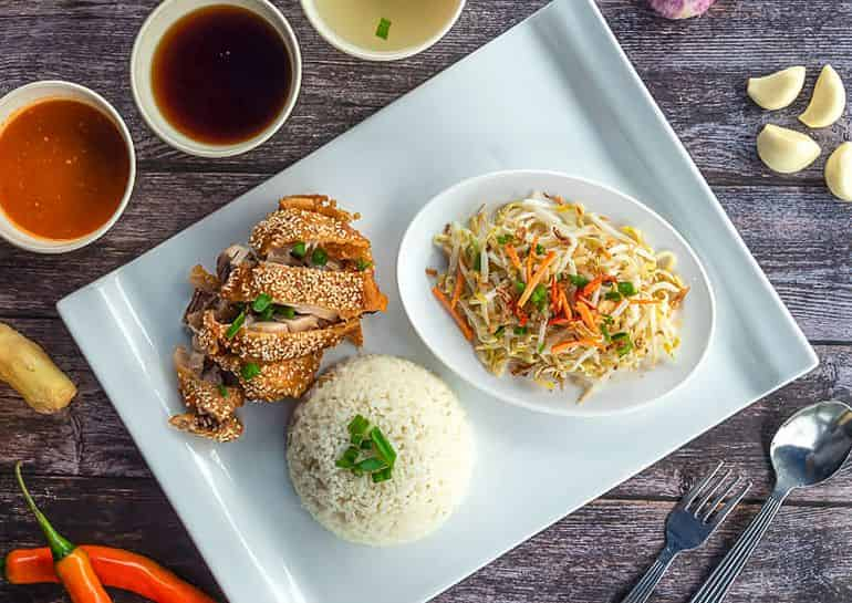 Best chicken rice in kuala lumpur: Breaded fried chicken and rice at Hainanku Chicken Rice
