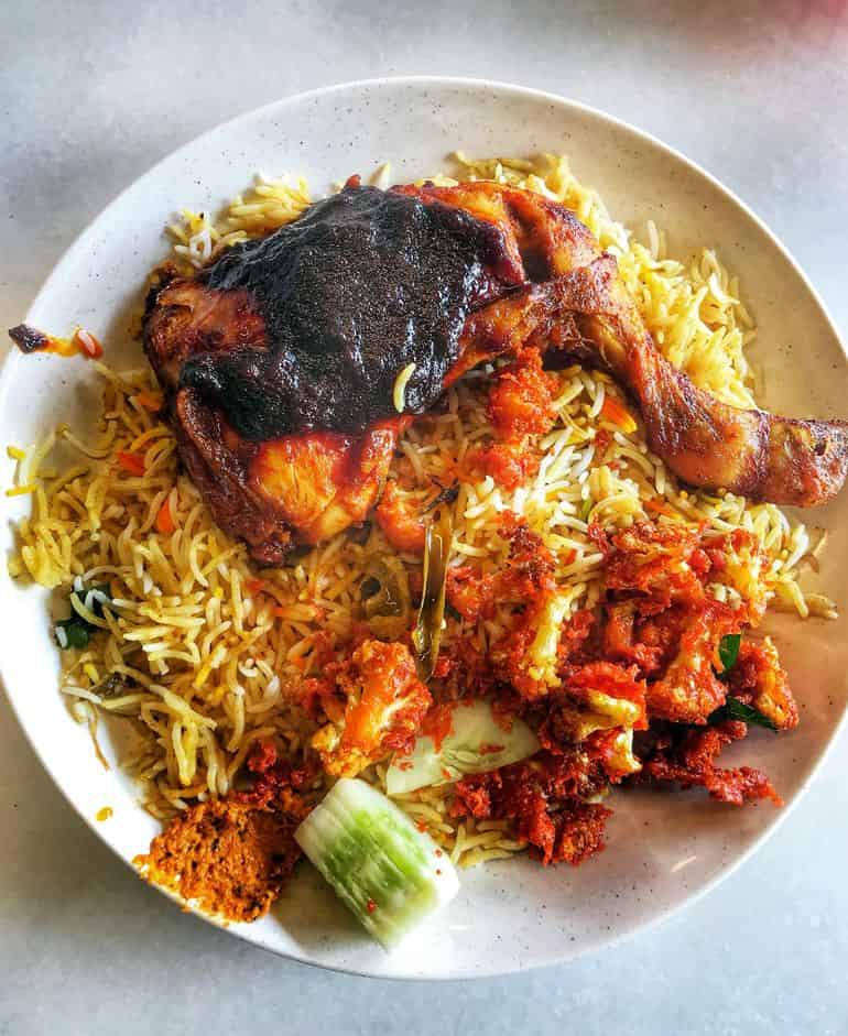 Best nasi kandar in KL: briyani rice with the signature ayam vanggey dish at Nasi Vanggey