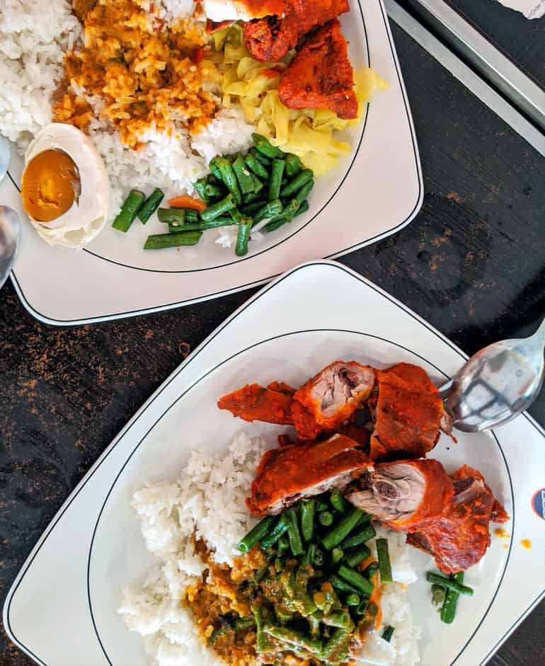 Best Nasi kandar in KL: fried chicken, mixed vegetables and curry at Syed Bistro