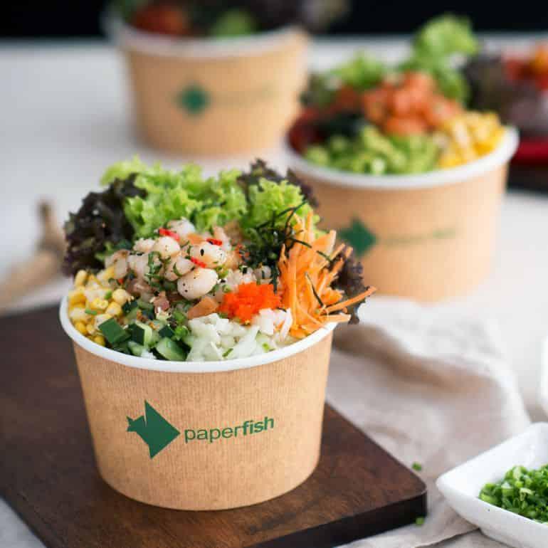 Best poke bowls in KL: Sea salt shrimp poke bowl at Paperfish