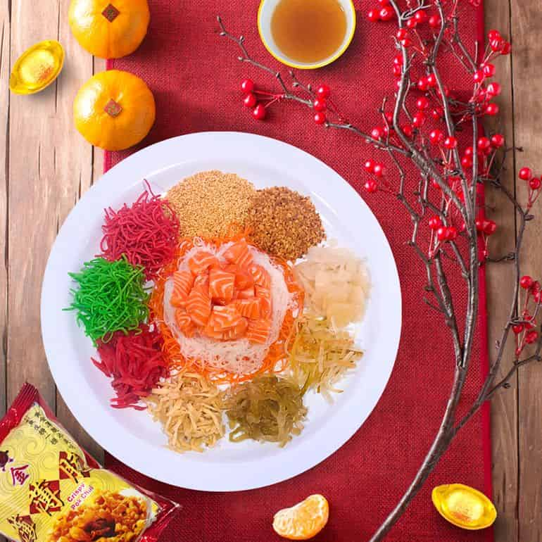 Yee Sang with salmon sashimi at The Fish Bowl