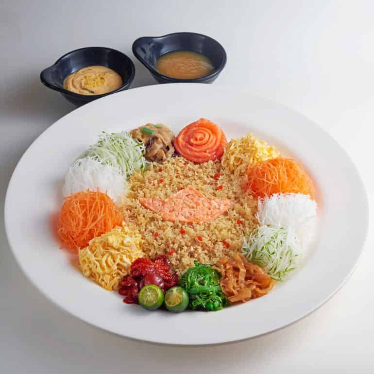 Yee Sang with Norwegian fjord trout at Sushi King