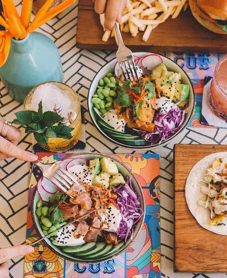 Best restaurants in Seminyak Bali: Colourful food bowls at Sea Circus