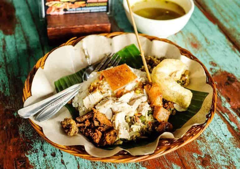 Balinese dishes: Babi Guling Pak Malen
