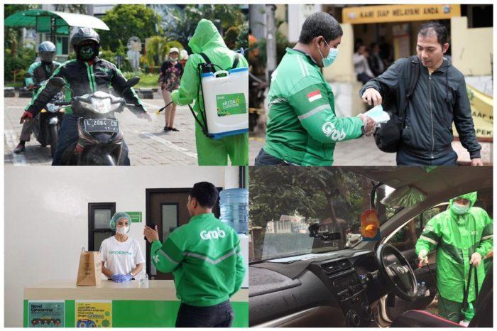 Foto: Pembagian masker, hand sanitizer dan pembersihan armada GrabCar dan GrabBike dengan penyemprotan desinfektan serta meningkatkan prosedur kebersihan untuk penanganan dan penyegelan makanan yang benar yang berlangsung di banyak kota di Indonesia sebagai bagian dari inisiatif #KitaVSCorona.