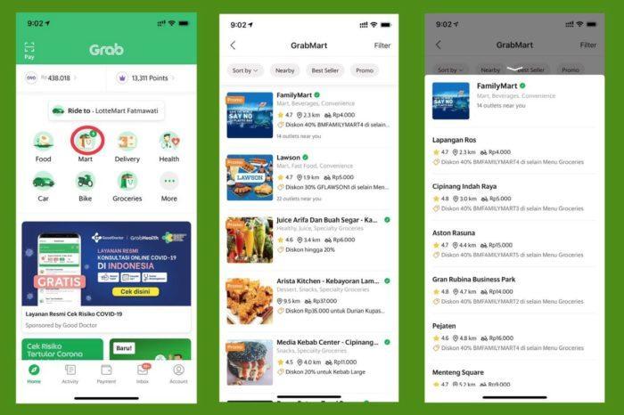 Foto: Tampilan layanan GrabMart di aplikasi Grab