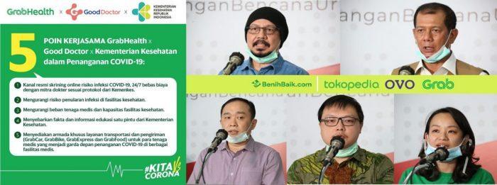 Foto: Lima poin kerja sama antara GrabHealth, Good Doctor dan Kementerian Kesehatan RI dalam penanganan pandemi COVID-19. Grab bersama Tokopedia dan OVO — ekosistem digital terbesar di Indonesia — mendonasikan masing-masing Rp1 miliar (total Rp3 miliar) melalui BenihBaik kepada BNPB untuk membantu memerangi COVID-19.