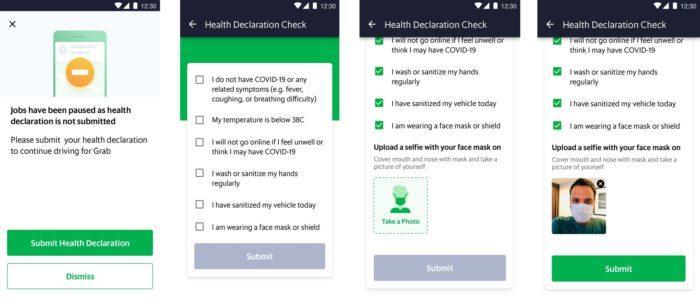 Gambar: Contoh screenshots Deklarasi Kesehatan dan fitur Mask Selfie di Aplikasi Mitra Pengemudi Grab. Sebagai ilustrasi