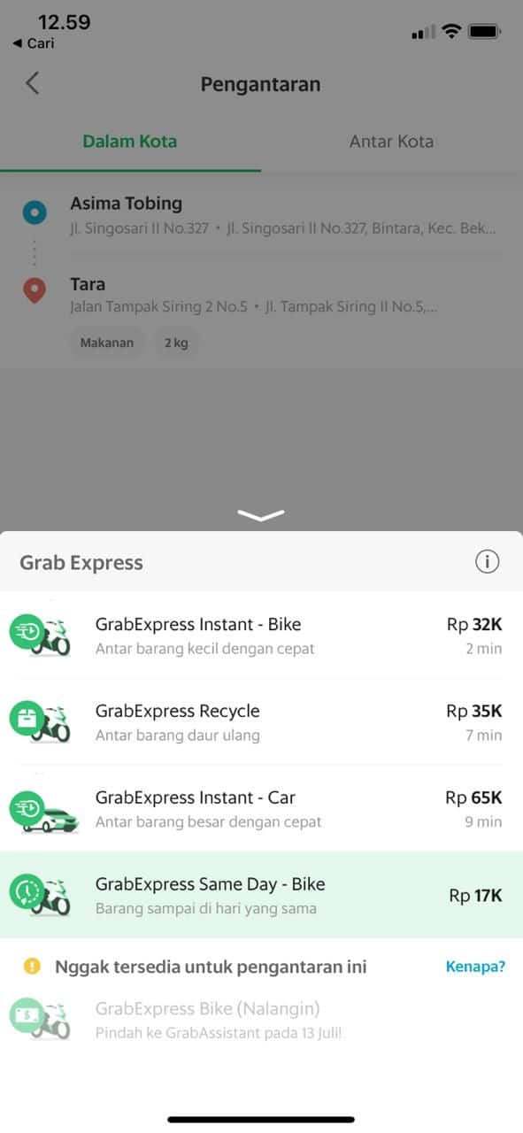Grabexpress Same Day Parcel Courier Delivery Service Grab Id